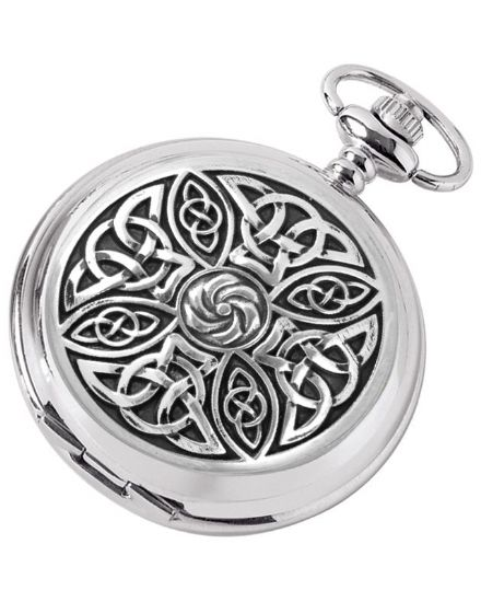 'Celtic' Quartz Pocket Watch with Chain